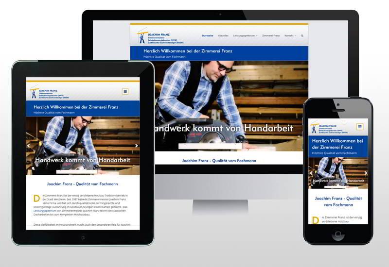 Neue Website der Zimmerei Franz